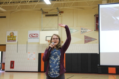 Clara talking about plastic pollution at a junior high in Canton, Ohio